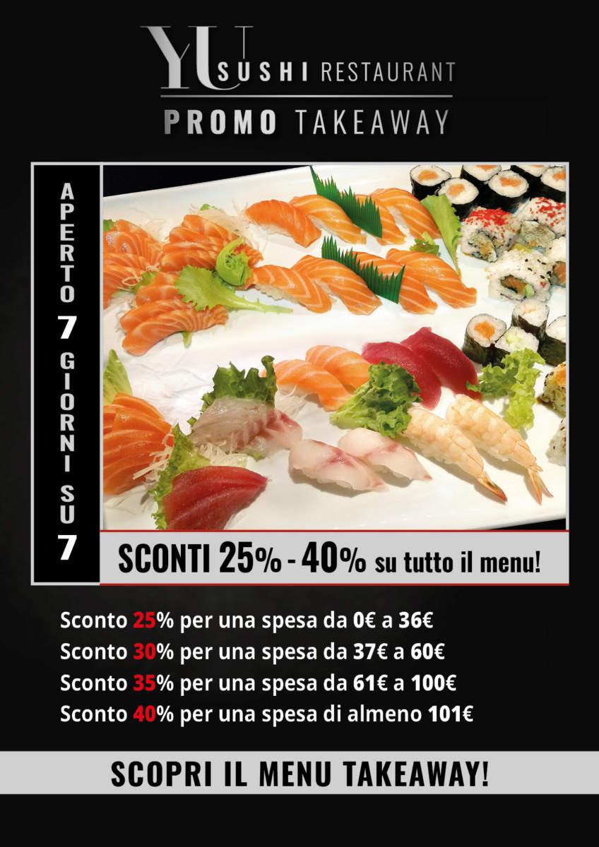 Yu Sushi Restaurant - Sconti dal 25% al 40% sui prezzi del menu Takeaway!!